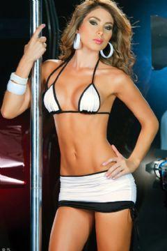 sexy bikini con minigonna bianco e nero
